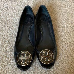 Tory Burch kitten wedge black patent leather shoe